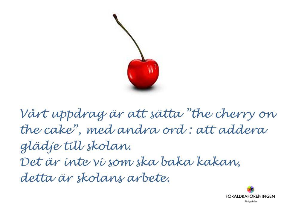 """Vårt uppdrag är att sätta """"the cherry on the cake"""", med andra ord : att addera glädje till skolan. Det är inte vi som ska baka kakan, detta är skolans"""