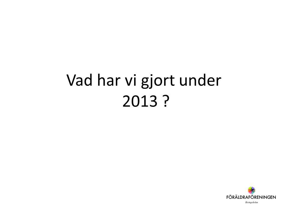 Vad har vi gjort under 2013 ?