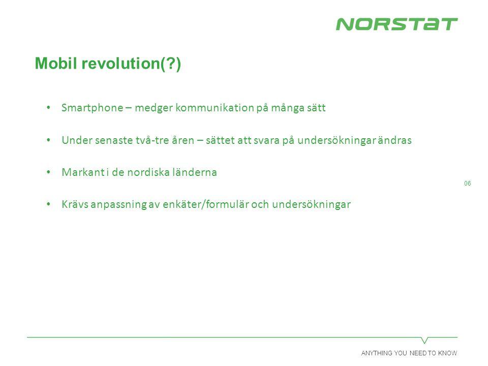 ANYTHING YOU NEED TO KNOW 06 Mobil revolution( ) Smartphone – medger kommunikation på många sätt Under senaste två-tre åren – sättet att svara på undersökningar ändras Markant i de nordiska länderna Krävs anpassning av enkäter/formulär och undersökningar