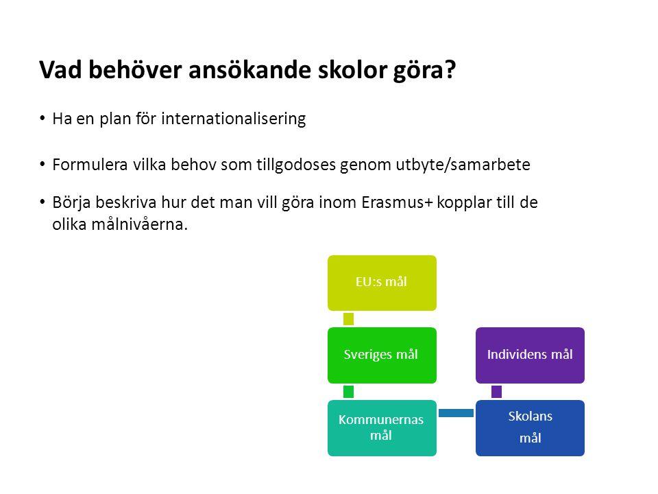 Sv Ha en plan för internationalisering Formulera vilka behov som tillgodoses genom utbyte/samarbete Börja beskriva hur det man vill göra inom Erasmus+ kopplar till de olika målnivåerna.