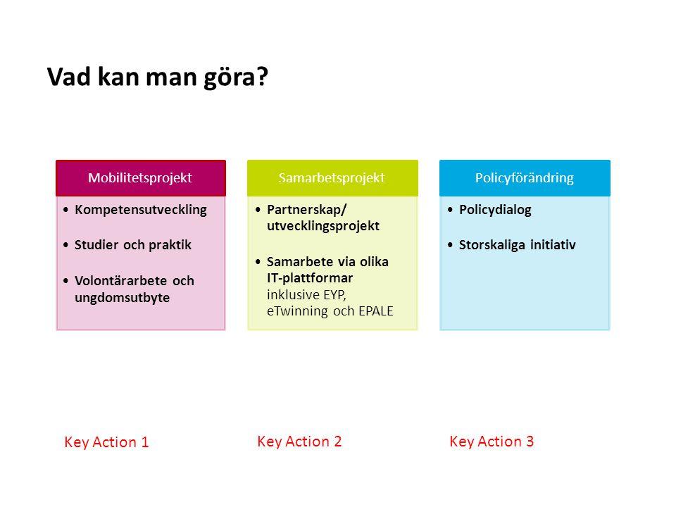 Sv Mobilitetsprojekt Kompetensutveckling Studier och praktik Volontärarbete och ungdomsutbyte Samarbetsprojekt Partnerskap/ utvecklingsprojekt Samarbe