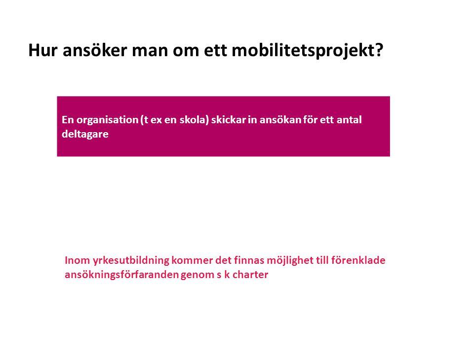 Sv Hur ansöker man om ett mobilitetsprojekt? En organisation (t ex en skola) skickar in ansökan för ett antal deltagare Inom yrkesutbildning kommer de