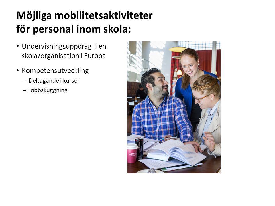 Sv Möjliga mobilitetsaktiviteter för personal inom skola: Undervisningsuppdrag i en skola/organisation i Europa Kompetensutveckling ̶Deltagande i kurser ̶Jobbskuggning