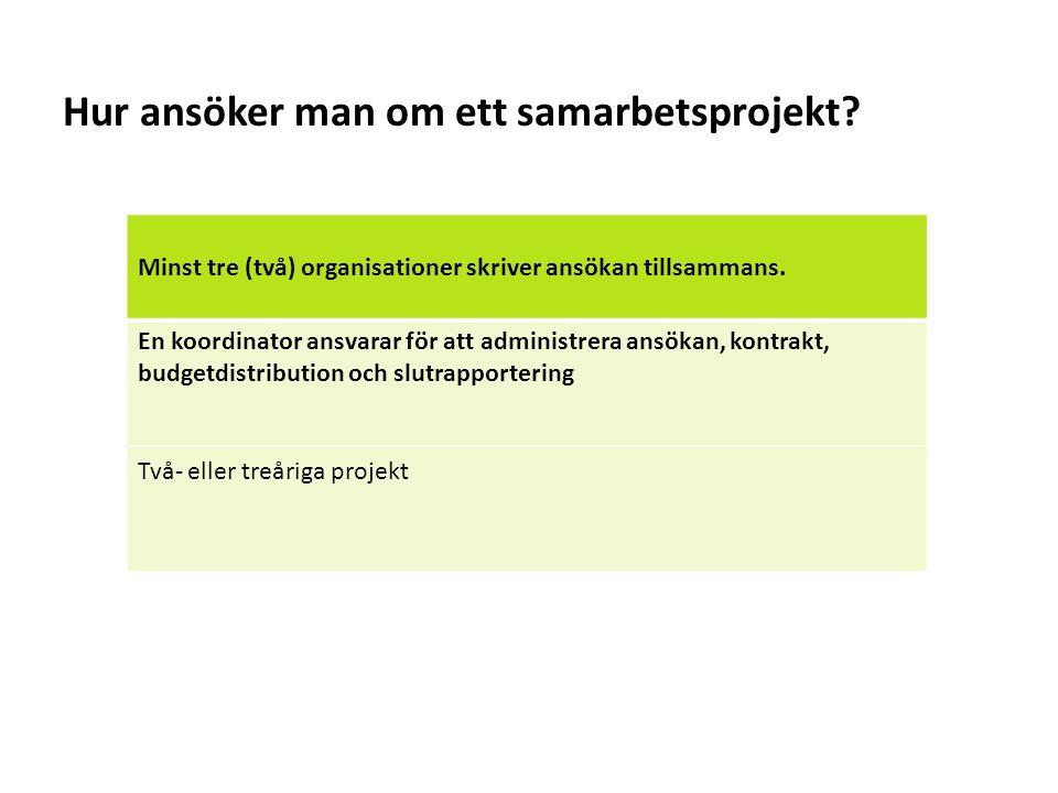 Sv Hur ansöker man om ett samarbetsprojekt? Minst tre (två) organisationer skriver ansökan tillsammans. En koordinator ansvarar för att administrera a
