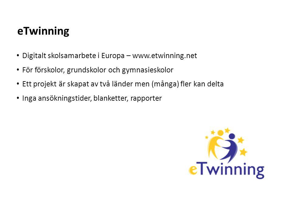 Sv Digitalt skolsamarbete i Europa – www.etwinning.net För förskolor, grundskolor och gymnasieskolor Ett projekt är skapat av två länder men (många) fler kan delta Inga ansökningstider, blanketter, rapporter eTwinning