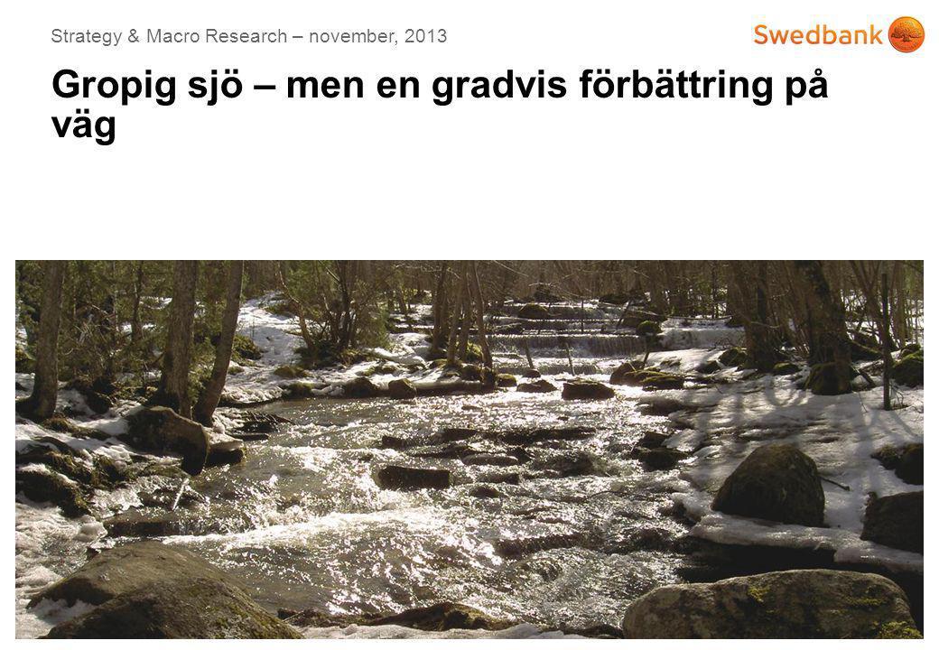 © Swedbank Date 2013-10-07 Sverige: Uppsvinget fördröjt men tillväxten på väg upp 12 Revidering av utfallsdata 2012/13 minskar BNP-nivån främst pga.