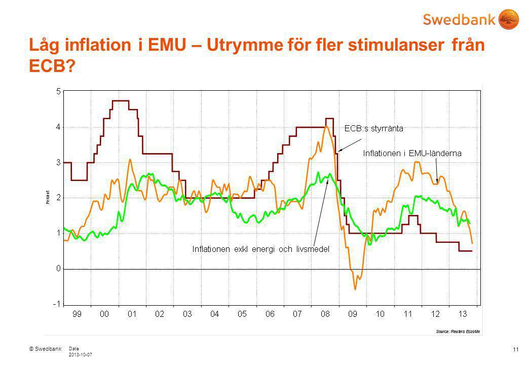 © Swedbank Date 2013-10-07 Låg inflation i EMU – Utrymme för fler stimulanser från ECB 11