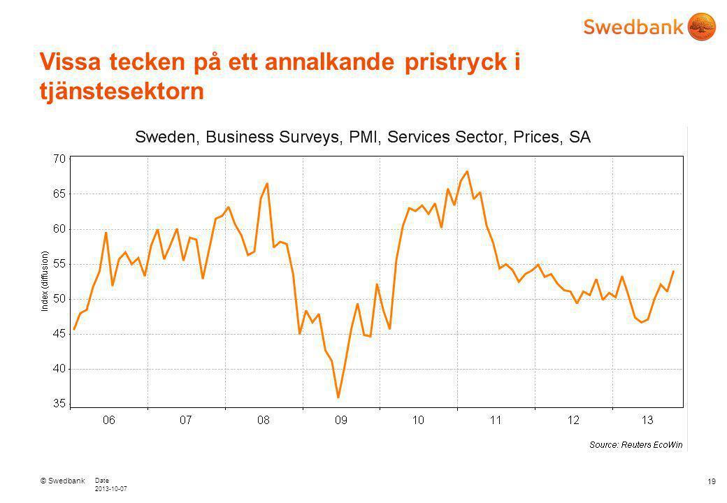 © Swedbank Date 2013-10-07 Vissa tecken på ett annalkande pristryck i tjänstesektorn 19