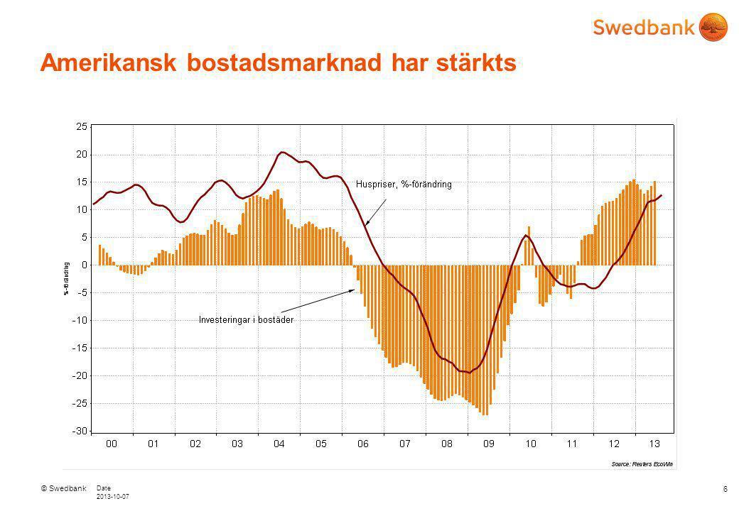 © Swedbank Date 2013-10-07 USA: Underliggande tillväxtpotential trots politisk turbulens – stämningsläget i näringslivet 7