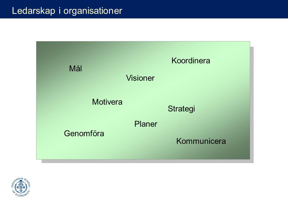 Visioner Mål Genomföra Planer Koordinera Strategi Motivera Kommunicera Ledarskap i organisationer