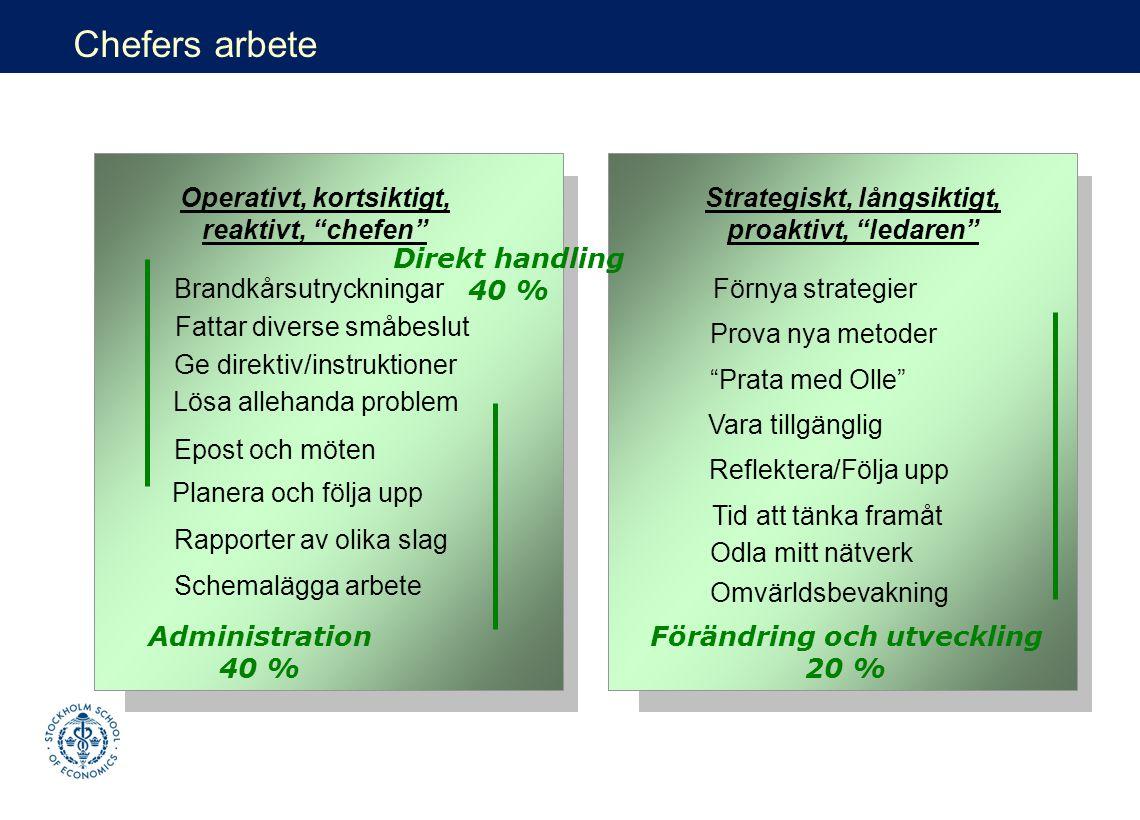 Fattar diverse småbeslut Schemalägga arbete Rapporter av olika slag Lösa allehanda problem Planera och följa upp Brandkårsutryckningar Ge direktiv/ins