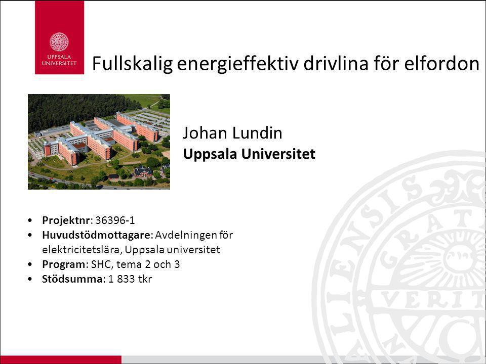 Fullskalig energieffektiv drivlina för elfordon Johan Lundin Uppsala Universitet Projektnr: 36396-1 Huvudstödmottagare: Avdelningen för elektricitetsl