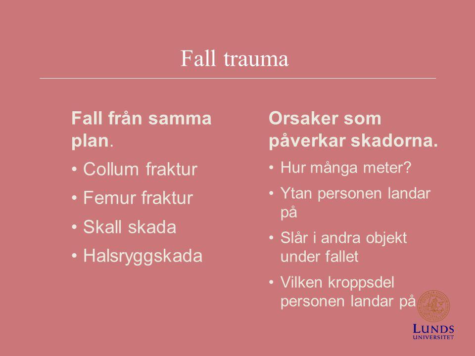 Fall trauma Fall från samma plan. Collum fraktur Femur fraktur Skall skada Halsryggskada Orsaker som påverkar skadorna. Hur många meter? Ytan personen