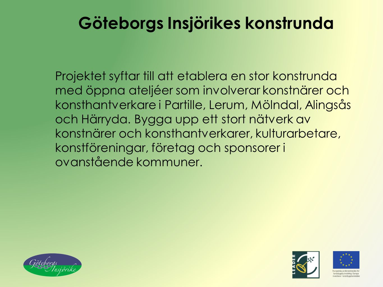 Göteborgs Insjörikes konstrunda Projektet syftar till att etablera en stor konstrunda med öppna ateljéer som involverar konstnärer och konsthantverkar