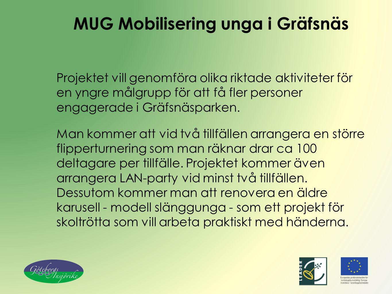 MUG Mobilisering unga i Gräfsnäs Projektet vill genomföra olika riktade aktiviteter för en yngre målgrupp för att få fler personer engagerade i Gräfsnäsparken.