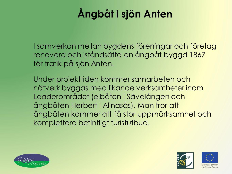 Ångbåt i sjön Anten I samverkan mellan bygdens föreningar och företag renovera och iståndsätta en ångbåt byggd 1867 för trafik på sjön Anten.