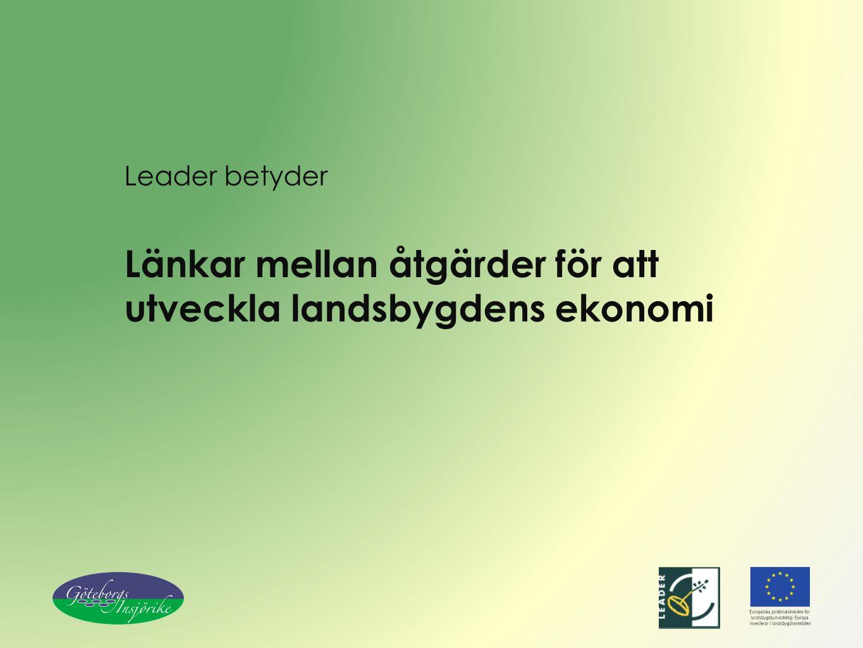 Leader betyder Länkar mellan åtgärder för att utveckla landsbygdens ekonomi