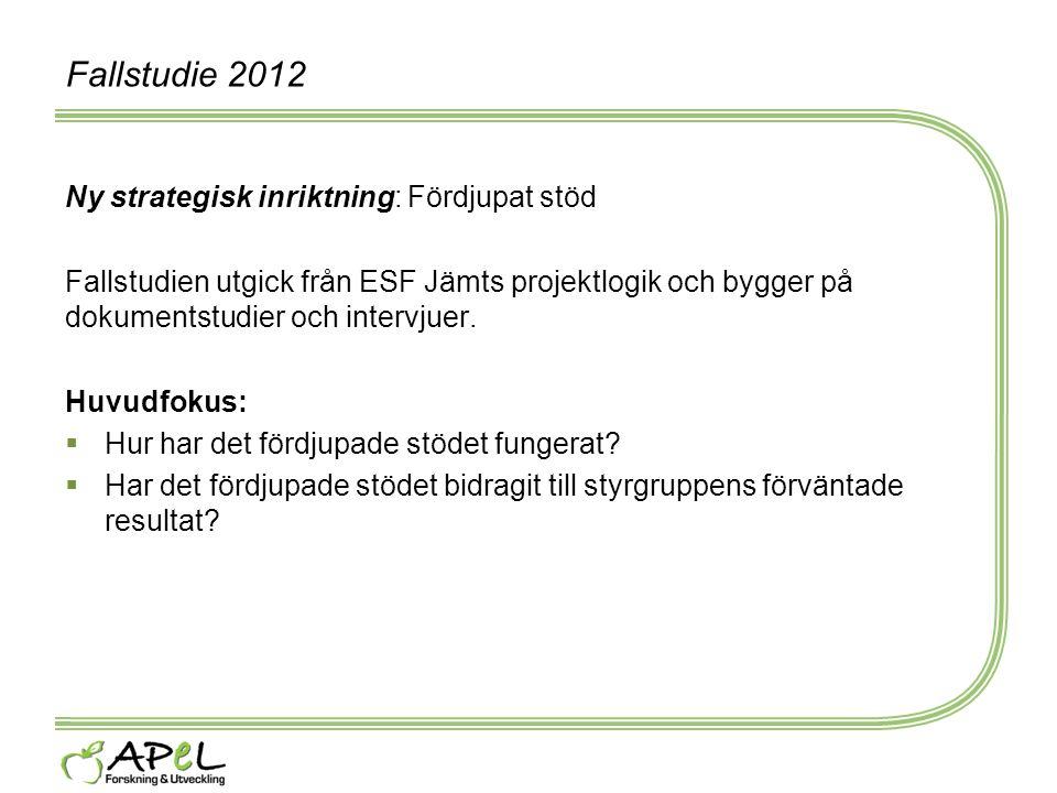 Fallstudie 2012 Ny strategisk inriktning: Fördjupat stöd Fallstudien utgick från ESF Jämts projektlogik och bygger på dokumentstudier och intervjuer.