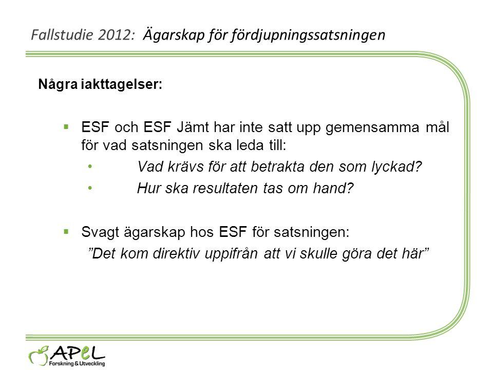 Fallstudie 2012: Ägarskap för fördjupningssatsningen Några iakttagelser:  ESF och ESF Jämt har inte satt upp gemensamma mål för vad satsningen ska le