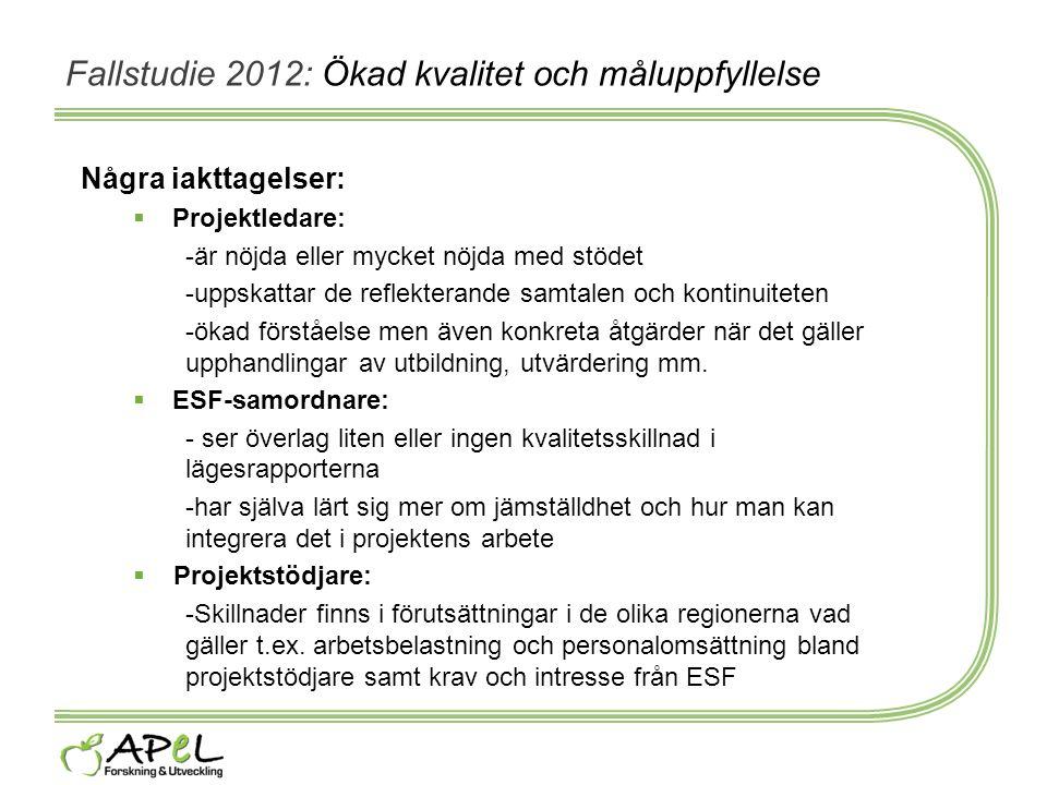 Fallstudie 2012: Ökad kvalitet och måluppfyllelse Några iakttagelser:  Projektledare: -är nöjda eller mycket nöjda med stödet -uppskattar de reflekte