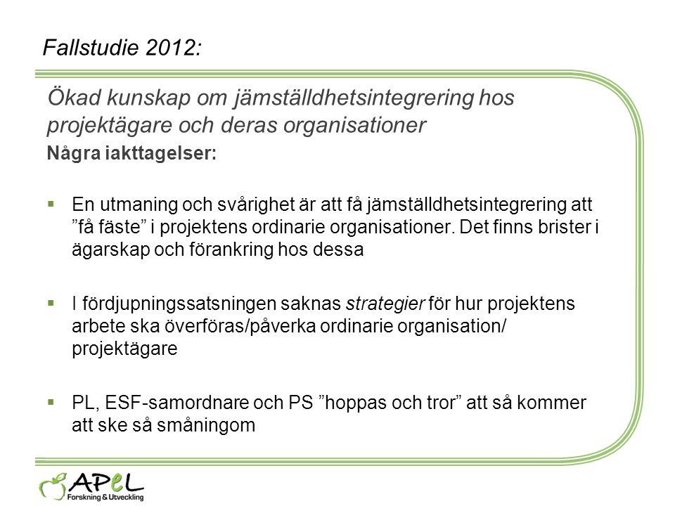 Fallstudie 2012: Ökad kunskap om jämställdhetsintegrering hos projektägare och deras organisationer Några iakttagelser:  En utmaning och svårighet är