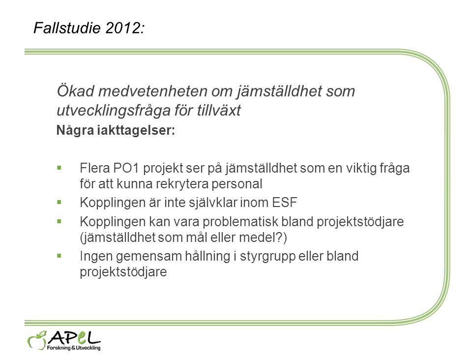 Fallstudie 2012: Ökad medvetenheten om jämställdhet som utvecklingsfråga för tillväxt Några iakttagelser:  Flera PO1 projekt ser på jämställdhet som