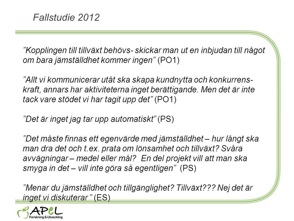 """Fallstudie 2012 """"Kopplingen till tillväxt behövs- skickar man ut en inbjudan till något om bara jämställdhet kommer ingen"""" (PO1) """"Allt vi kommunicerar"""