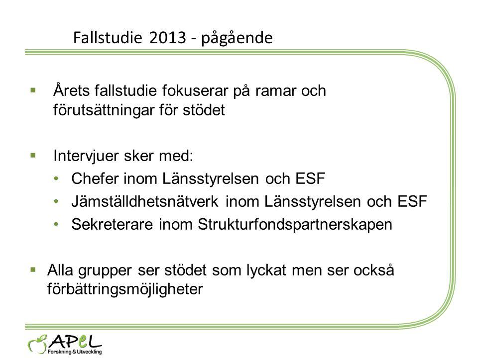 Fallstudie 2013 - pågående  Årets fallstudie fokuserar på ramar och förutsättningar för stödet  Intervjuer sker med: Chefer inom Länsstyrelsen och E