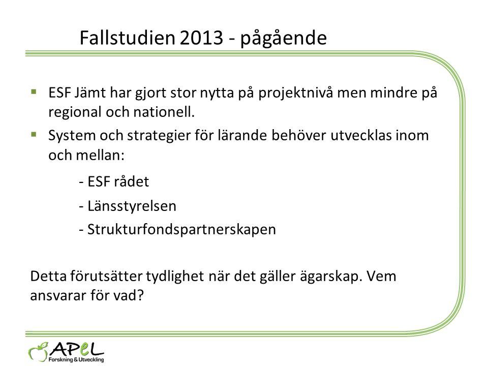 Fallstudien 2013 - pågående  ESF Jämt har gjort stor nytta på projektnivå men mindre på regional och nationell.  System och strategier för lärande b