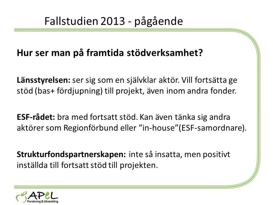 Fallstudien 2013 - pågående Hur ser man på framtida stödverksamhet? Länsstyrelsen: ser sig som en självklar aktör. Vill fortsätta ge stöd (bas+ fördju