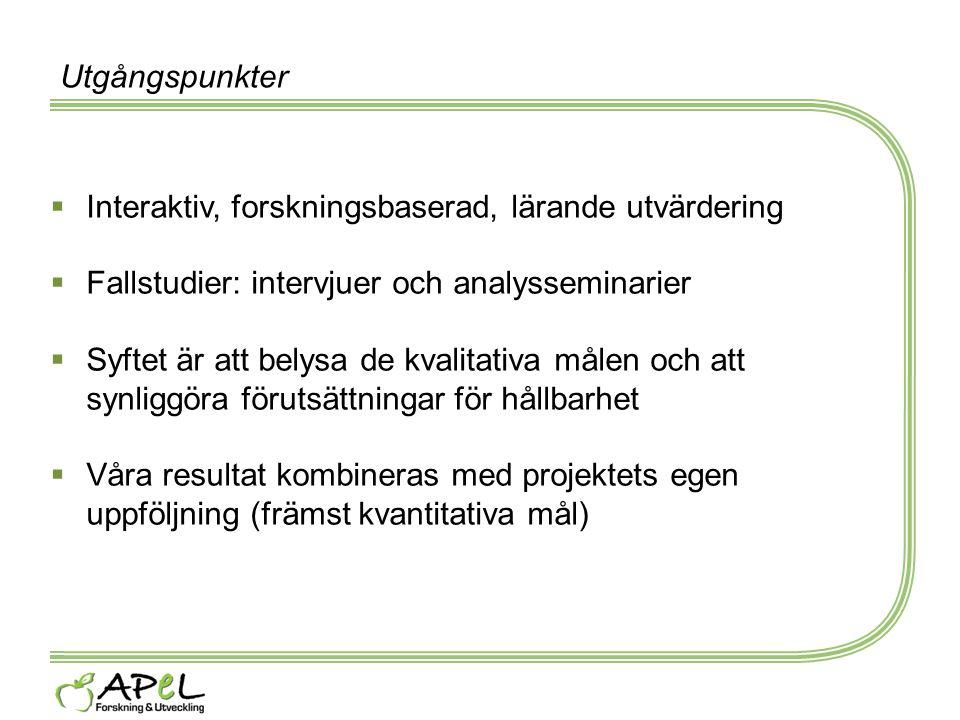 Utgångspunkter  Interaktiv, forskningsbaserad, lärande utvärdering  Fallstudier: intervjuer och analysseminarier  Syftet är att belysa de kvalitati