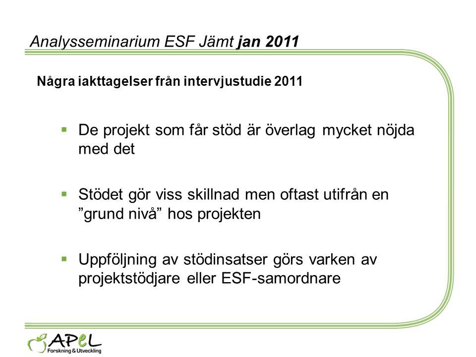 Analysseminarium ESF Jämt jan 2011 Några iakttagelser från intervjustudie 2011  De projekt som får stöd är överlag mycket nöjda med det  Stödet gör