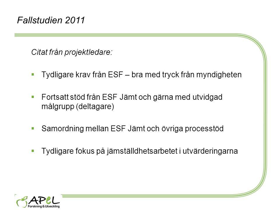 Fallstudien 2011 Citat från projektledare:  Tydligare krav från ESF – bra med tryck från myndigheten  Fortsatt stöd från ESF Jämt och gärna med utvi