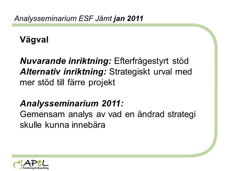 Analysseminarium ESF Jämt jan 2011 Vägval Nuvarande inriktning: Efterfrågestyrt stöd Alternativ inriktning: Strategiskt urval med mer stöd till färre