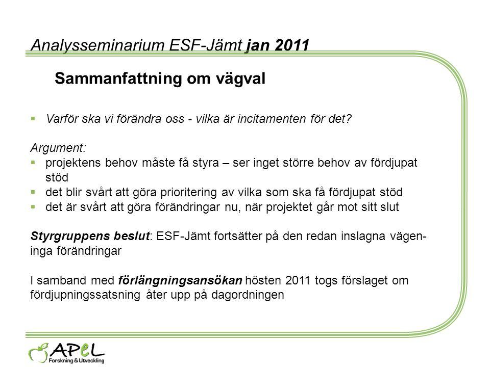 Analysseminarium ESF-Jämt jan 2011 Sammanfattning om vägval  Varför ska vi förändra oss - vilka är incitamenten för det? Argument:  projektens behov