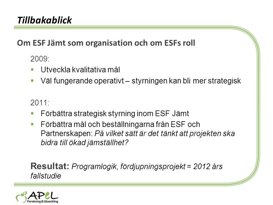 Tillbakablick Om ESF Jämt som organisation och om ESFs roll 2009:  Utveckla kvalitativa mål  Väl fungerande operativt – styrningen kan bli mer strat