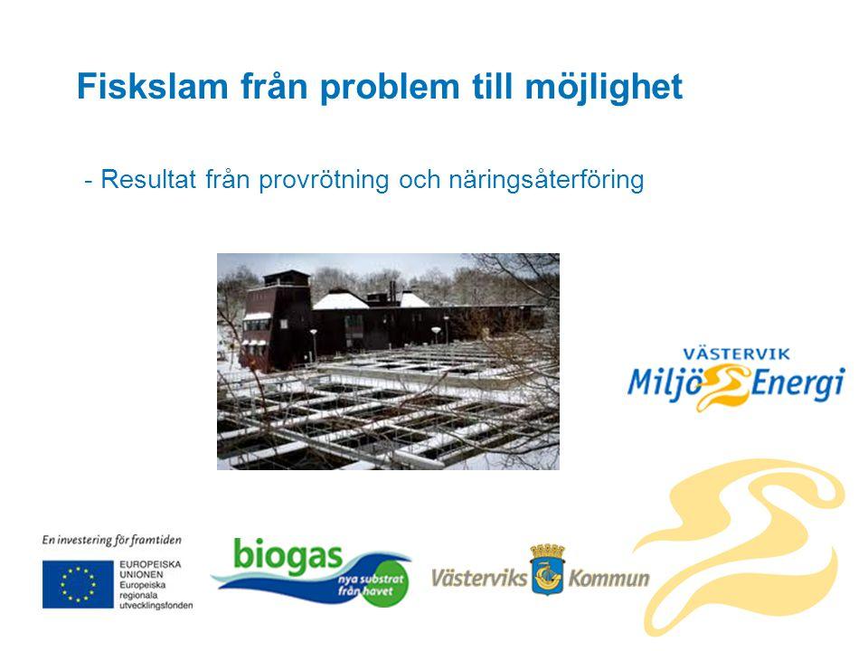 Fiskslam från problem till möjlighet - Resultat från provrötning och näringsåterföring