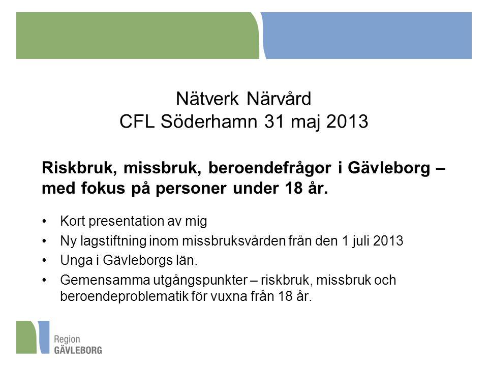 Nätverk Närvård CFL Söderhamn 31 maj 2013 Riskbruk, missbruk, beroendefrågor i Gävleborg – med fokus på personer under 18 år. Kort presentation av mig