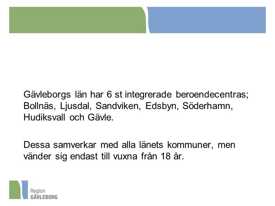 Gävleborgs län har 6 st integrerade beroendecentras; Bollnäs, Ljusdal, Sandviken, Edsbyn, Söderhamn, Hudiksvall och Gävle. Dessa samverkar med alla lä