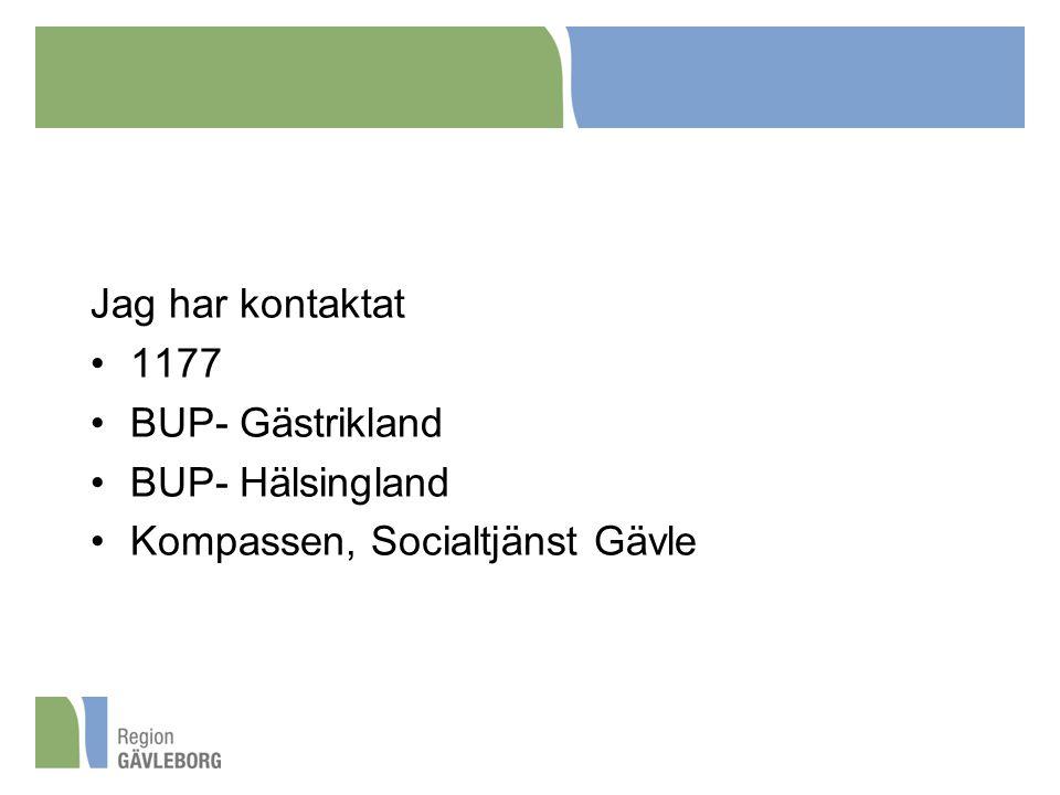 Jag har kontaktat 1177 BUP- Gästrikland BUP- Hälsingland Kompassen, Socialtjänst Gävle
