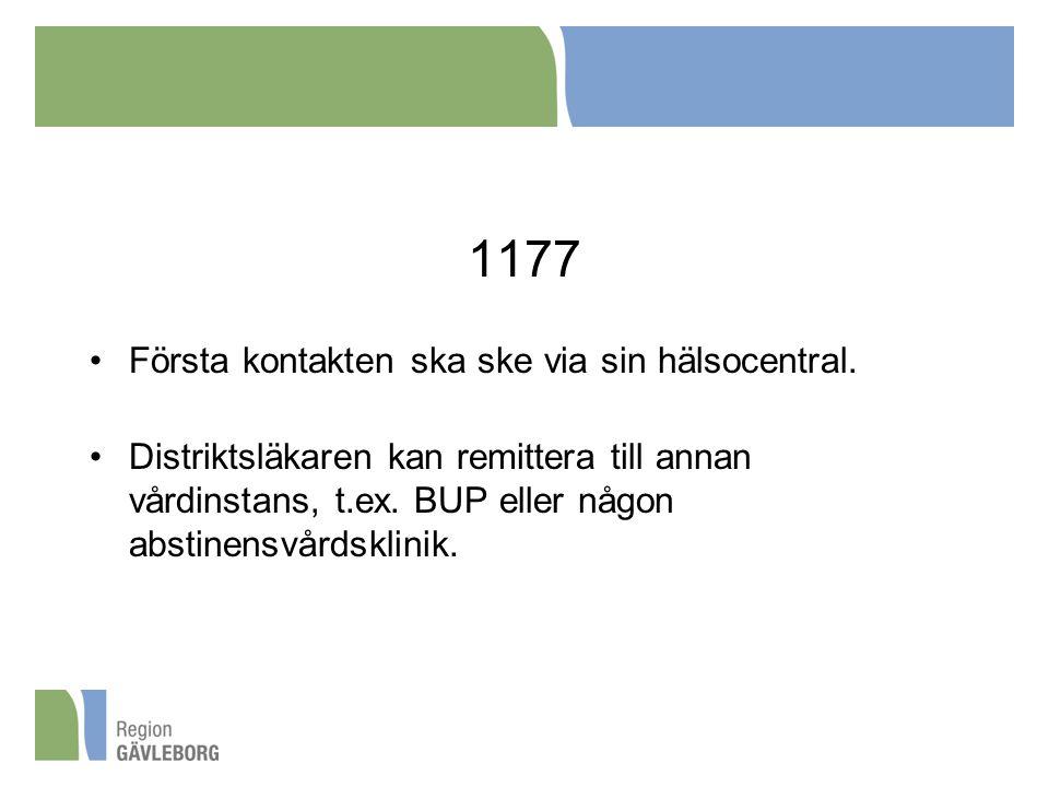 1177 Första kontakten ska ske via sin hälsocentral. Distriktsläkaren kan remittera till annan vårdinstans, t.ex. BUP eller någon abstinensvårdsklinik.