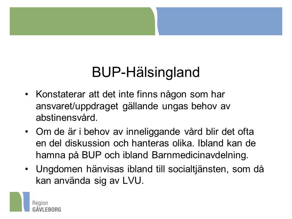BUP-Hälsingland Konstaterar att det inte finns någon som har ansvaret/uppdraget gällande ungas behov av abstinensvård. Om de är i behov av inneliggand