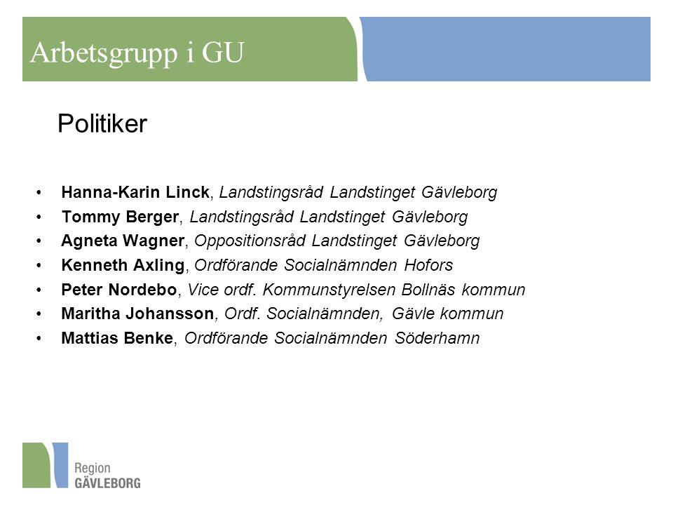 Politiker Hanna-Karin Linck, Landstingsråd Landstinget Gävleborg Tommy Berger, Landstingsråd Landstinget Gävleborg Agneta Wagner, Oppositionsråd Lands