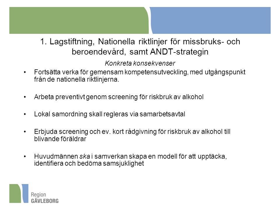 1. Lagstiftning, Nationella riktlinjer för missbruks- och beroendevård, samt ANDT-strategin Konkreta konsekvenser Fortsätta verka för gemensam kompete