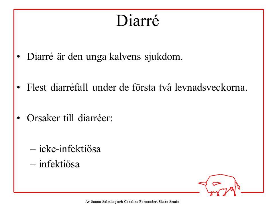 Av Sanna Soleskog och Caroline Fornander, Skara Semin Diarré Diarré är den unga kalvens sjukdom.