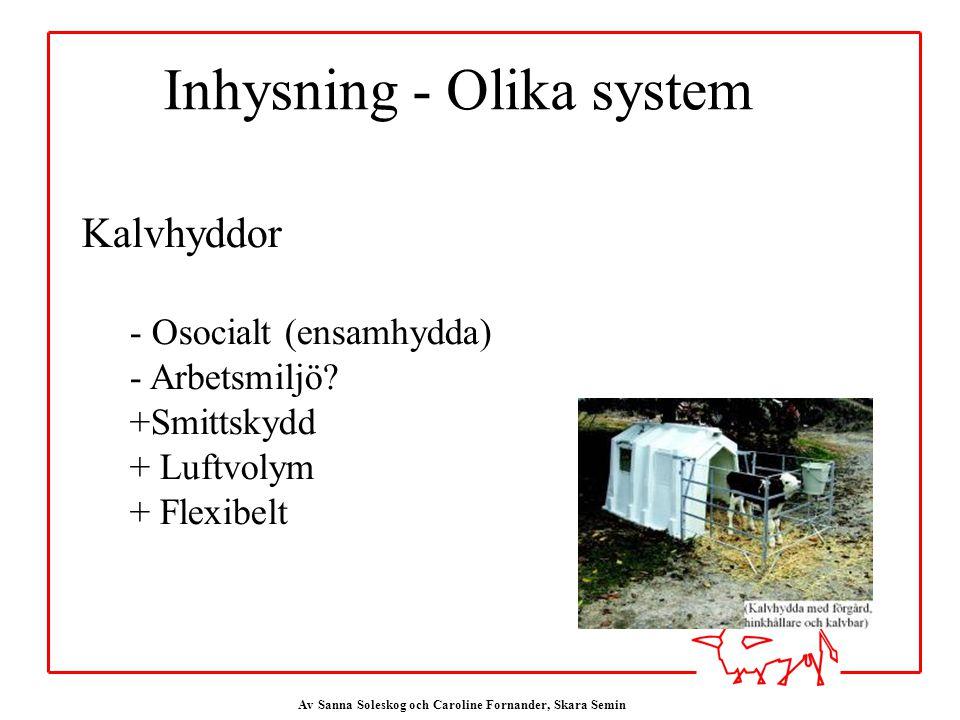 Av Sanna Soleskog och Caroline Fornander, Skara Semin Inhysning - Olika system Kalvhyddor - Osocialt (ensamhydda) - Arbetsmiljö.