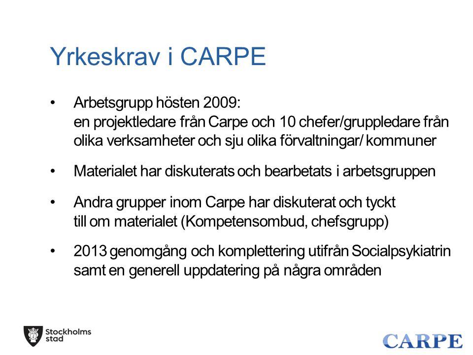 Yrkeskrav i CARPE Arbetsgrupp hösten 2009: en projektledare från Carpe och 10 chefer/gruppledare från olika verksamheter och sju olika förvaltningar/
