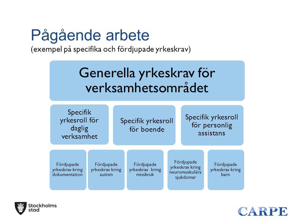 Pågående arbete (exempel på specifika och fördjupade yrkeskrav) Generella yrkeskrav för verksamhetsområdet Specifik yrkesroll för daglig verksamhet Fö
