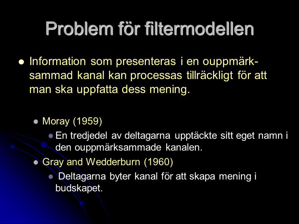 Problem för filtermodellen Information som presenteras i en ouppmärk- sammad kanal kan processas tillräckligt för att man ska uppfatta dess mening.