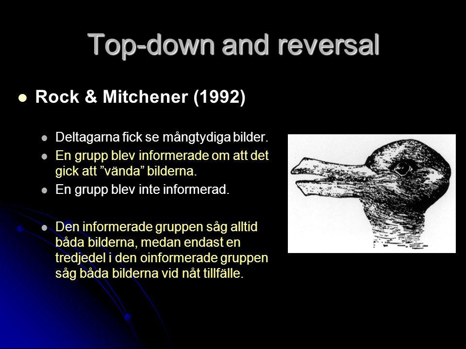 Top-down and reversal Rock & Mitchener (1992) Deltagarna fick se mångtydiga bilder.
